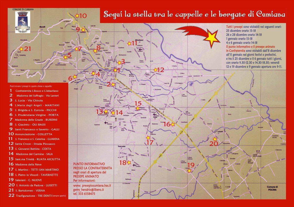 mappa della via dei presepi 2014 cumiana torino